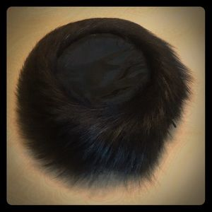 Vintage black faux fur hat. Circa 1960